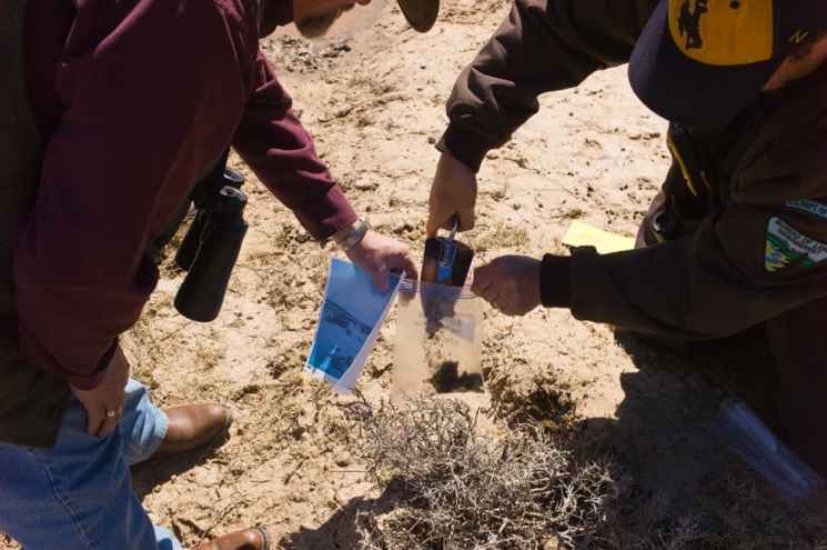 """BLM biologist Dale Woolwine and colleague Kyle Hansen collect dirt from a place greater sage grouse were photographed pecking at the ground last winter. The sample, along with another from nearby, may reveals what draws the birds to the area and causes dirt-eating or """"geophagia."""" (Angus M. Thuermer Jr./WyoFile)"""
