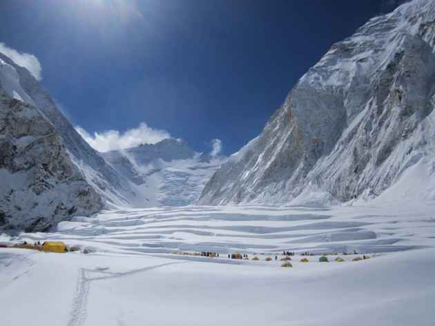 Avalanche runouts can be seen from Camp 1 on the west buttress of Mount Everest. (courtesy Darren Rogers)