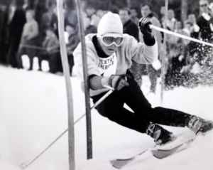 This photograph of Resi Stiegler's father, Pepi, during his racing career in the 1960s shows how style, technique and gear has changed over the years. Pepi Stiegler provided the historic shot to WyoFile last year, the 50th anniversary of his Olympic gold medal slalom run, as he watched his daughter ski in the Olympics in Sochi, Russia. (courtesy Pepi Stiegler)