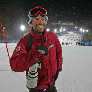 Jonathan Selkowitz  scouts the Sestriere slalom hill during the 2006 Olympics in Italy, looking for a location to photograph the second run of the Women's combined event. Hard work and talent earned him the International Ski Federation's Journalist of the Year award in 2012. (Jed Jacobsohn)