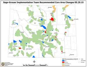 Wyoming's Sage Grouse Implementation Team recommended that the governor's core-area map be updated with additions in blue and tan and deletions in red. Gov. Mead is expected to act on the recommendation in coming weeks. (Wyoming Game and Fish Department)
