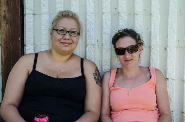 Nicole Antelope and Chrissy Nardi attended the potluck on Saturday. (Matt Copeland/WyoFile)