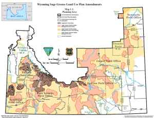 Much of proposed sage grouse conservation in Wyoming is analyzed in a BLM environmental impact statement covering the southern half of the state. Core, or priority, areas are a fraction of that and Sagebrush Focal Areas — top tier habitat to be preserved — is even smaller. (U.S. BLM)
