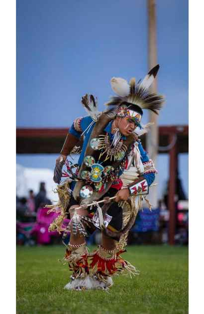 D'andre Augustine of Arapahoe, Wyoming competes as a Traditional Dancer at Eastern Shoshone Indian Days Powwow, Fort Washakie Wyoming, Sunday June 28, 2015. (Terance Oldman)
