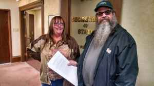 Wyoming NORML board members Pam Wright of Hartville and Lee Roith of Cheyenne as they visited the Secretary of State's office to file papers for the initiative. (Courtesy Wyoming NORML)