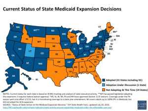 Wyoming is one of 19 states (in orange) that have not expanded Medicaid. (Kaiser Family Foundation)