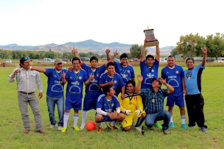 Champions of the 2015 Little Snake River soccer tournament, Rio Blanco/White River Ranch. Several team members work in oil fields around Vernal, Utah. (Gregory Nickerson/WyoFile)