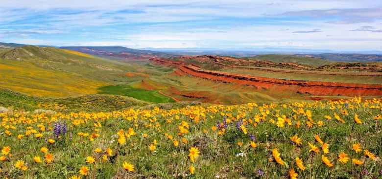 This scenic shot of Red Canyon near Lander won first place in the Living in Wyoming category of the BLM's statewide employee photo contest. (photo by Aaron Thompson)