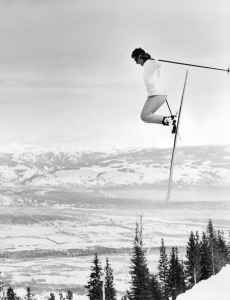 Olympic gold medalist Pepi Stiegler catches air while skiing at Jackson Hole Mountain Resort. The resort celebrates its 50th anniversary this season. (courtesy Jackson Hole Mountain Resort)
