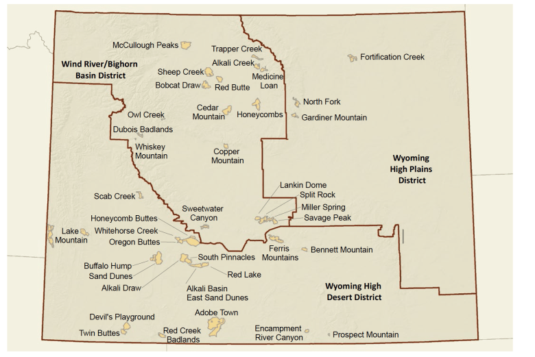 Wyoming County Commissioners Association assembled this map of BLM Wilderness Study Areas. It does not include three study areas in national forests in the northwest. Resolving the fate of all the study areas is one of the goals of the commissioners as it articulates its vision for federal property in the state. (Wyoming County Commissioners Association)