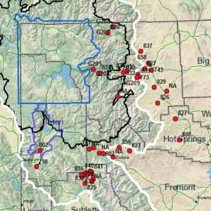 Wyoming Game and Fish mapped its grizzly bear capture operations around the Yellowstone ecosystem in an annual report required by the Wyoming Legislature. Many conflicts centered around cattle in Park and Sublette Counties. (Wyoming Game and Fish Department)