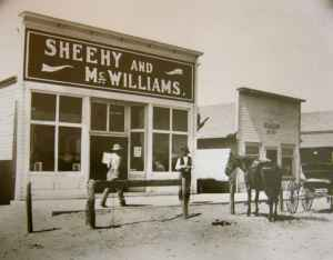 Patrick Sheehy's forebearer, Thomas Sheehy, and his cousin owned this general store in Powell, Wyoming. The photograph was taken in about 1900. (Sheehy family)