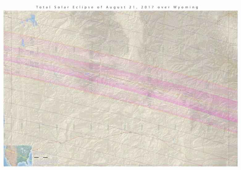 NASA and others offer detailed maps showing exactly where the path of totality will be and how long the eclipse will last within the path. About 70 miles wide, the path crosses all of Wyoming. It will take the moon's shadow about 13 minutes to make the journey across the Equality State. (NASA)