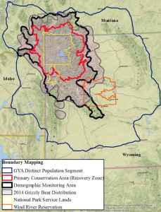 Yellowstone-area grizzlies would be managed according to where they live in various zones around two national parks. Outside the Demographic Monitoring Area, Wyoming would have little tolerance for grizzlies that conflict with human activities. (Wyoming Game and Fish Department)