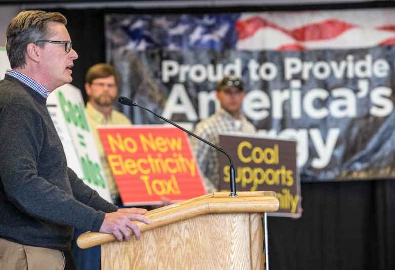 Cloud Peak Energy vice president of public affairs Richard Reavey was among several to speak at a Friends of Coal rally in Casper on Tuesday. (Tim Kupsick/WyoFile)