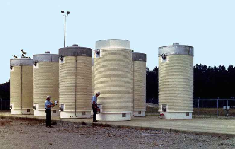 Highly radioactive waste from nuclear power plants are stored in cylindrical casks. The nuclear industry is excited about new prominence under a Trump administration. (U.S. Department of Energy)