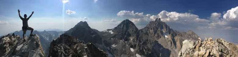 Burke poses on Nez Perce's summit. The peak was part of his week-long traverse of the Teton Range. (Crista Valentino)