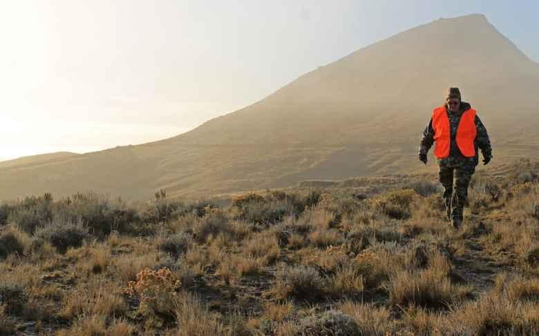 Tonya Lewman walks through the fog and sagebrush while scouting for antelope Oct. 7, near Ucross. (Kelsey Dayton/WyoFile)