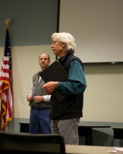 """Kevin Frederick, administrator of the water quality division of Wyoming DEQ, speaks to residents in Riverton at an """"open house"""" style meeting about the DEQ's final report on possible contamination in area water wells. (Andrew Graham/WyoFile)"""