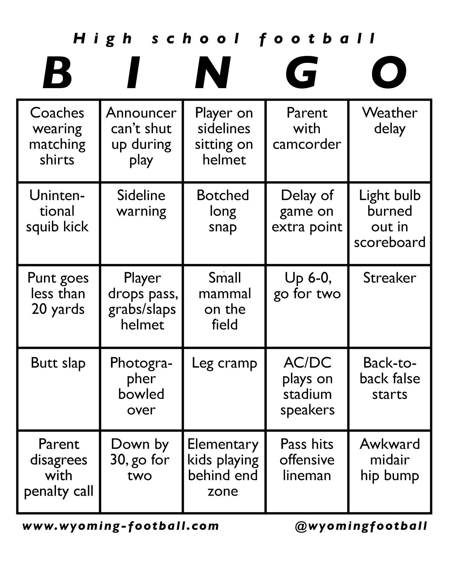 High School Football Bingo Whsfb Hq