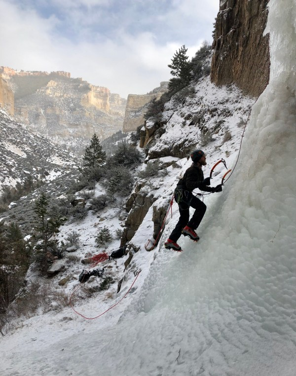 Joseph Haeberle starts up an ice climb in lower Cottonwood Canyon