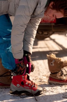 Wyoming Mountain Guides is the only gear rental service in the state of Wyoming that rents a full line of mountaineering boots to the public. Shown here is one of our line of Koflach double plastic boots for ice climbing.
