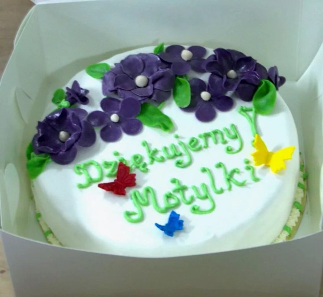 tort kwiatowo motylkowy