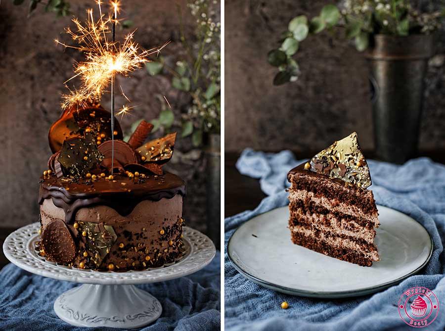 zdjęcie tortu czekoladowo-orzechowego wykonane podczas warsztatów fotografii kulinarnej
