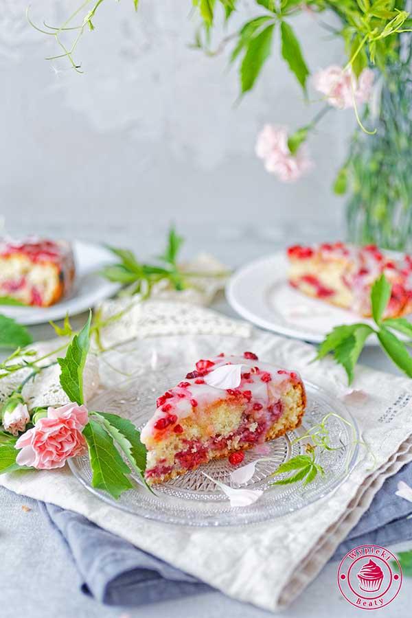 proste ciasto z malinami