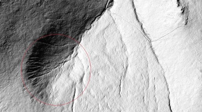 Laserowe (lidarowe) zdjęcie satelitarne pokazujące ukształtowanie powierzchni Szrenickiego Kotła i jego okolicy