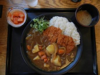 Veggie curry + pork cutlet.