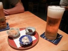 Sapporo and snacks at Shinjuku