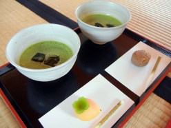 I got cold matcha and the seasonal wagashi (confectionary).