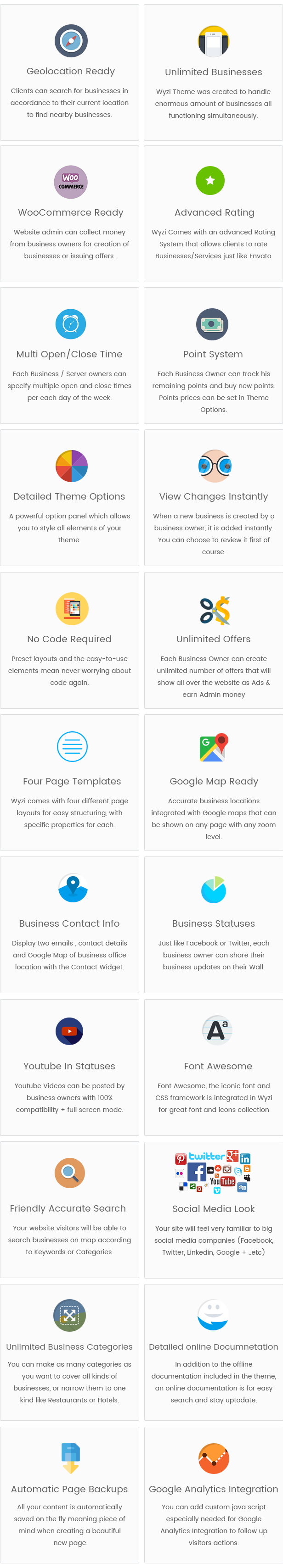 Wyzi Business Finder Social Directory Features - Geolocation Ready - Unlimited Businesses - Paypal Ready - Social Media Look