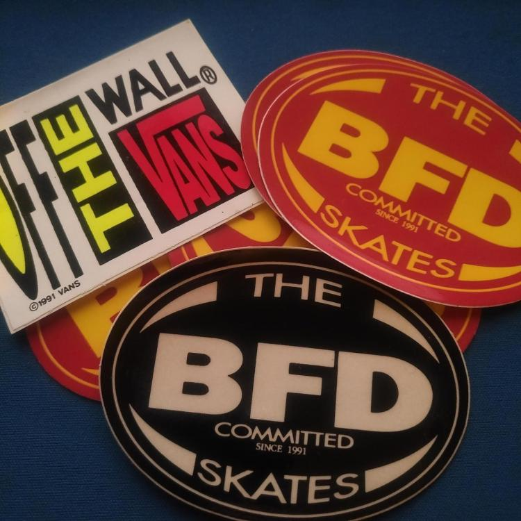 BFD skates stickers from 1991 with Vans off the wall sticker from 1991
