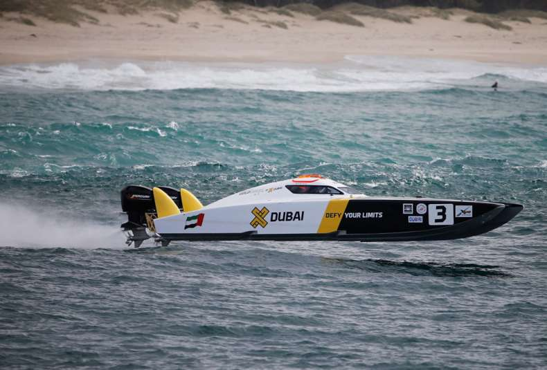 GOLD COAST, AUSTRALIA - AUGUST 22:  Arif Al Zaffain and Nadir Bin Heindi of XDubai compete in the race for Pole Position during day 1 of the Gold Coast GP - fourth round of the UIM XCAT World Series on August 22, 2015 in Gold Coast, Australia where 14 teams are competing. XCAT, short for extreme catamaran, is one of the most challenging and extreme forms of powerboat racing in the world. The XCAT World Series truly is a spectacle of speed, with teams of two taking each other on in two-engined carbon-fibre boats that tear around the course at speeds close to 200km per hour.  (Photo by Glenn Hunt/Getty Images for XCAT)