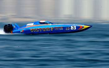 race for pole position during the Fujairah Grand Prix - the first round of the UIM XCAT World Series 2016 where 14 boats are competing. XCAT, short for extreme  catamaran, is one of the most challenging and extreme forms of powerboat racing in the world at the Fujairah International Marine Sports Club on April 7, 2016 in Fujairah, United Arab Emirates.