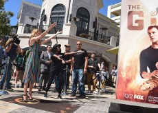 "LOS ANGELES- SEPTEMBER 24: Amy Acker at Fox's ""The Gifted"" Vending Machine Stunt at The Grove on September 24, 2017 in Los Angeles, California. (Photo by Scott Kirkland/Fox/PictureGroup)"