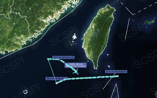 """""""南海戰略態勢感知""""計劃公布的美軍MQ-4C無人機1月9日飛行路線"""