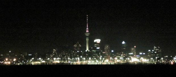 Sailing towards Auckland in the dark