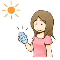 UVカットコスメを使う女性