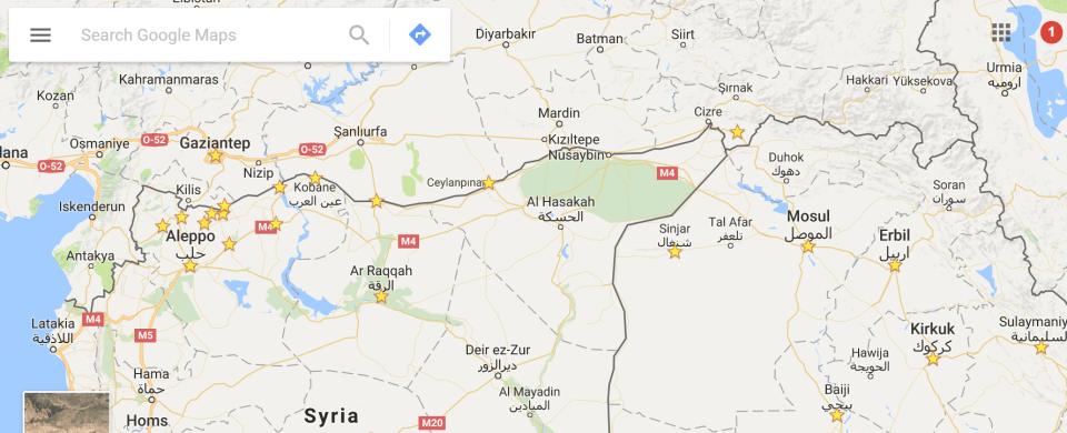 Türkische südliche Grenze zu Syrien und Irak.
