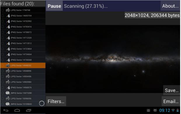 DiskDigger scan