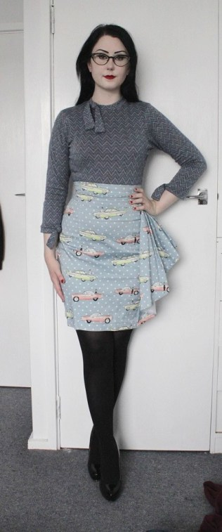 Merino chevron 3/4 sleeve top with bows. Polkadot Car print cotton sateen pencil skirt with waterfall side detail.