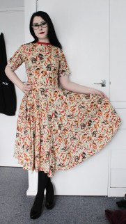 Christmas cat print cotton 1950's style day dress with full skirt.