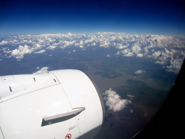 In the air... Loving the view - we landed in showers - Scary!!!
