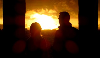 My bf and a friend silhouetted against the sunset!!!