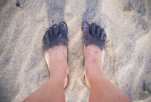 Black sand...
