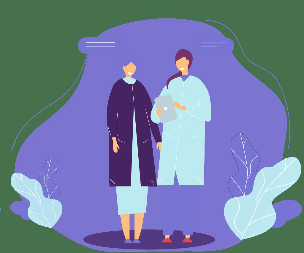 Two nurses with an ipad