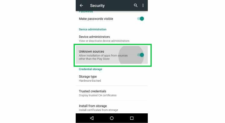 enable unknown sources to install XAPK Installer apk on android